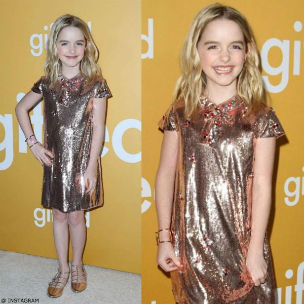 McKenna Grace GUCCI Pink Gold Sequin Ladybug Shift Dress Gifted Movie Premiere