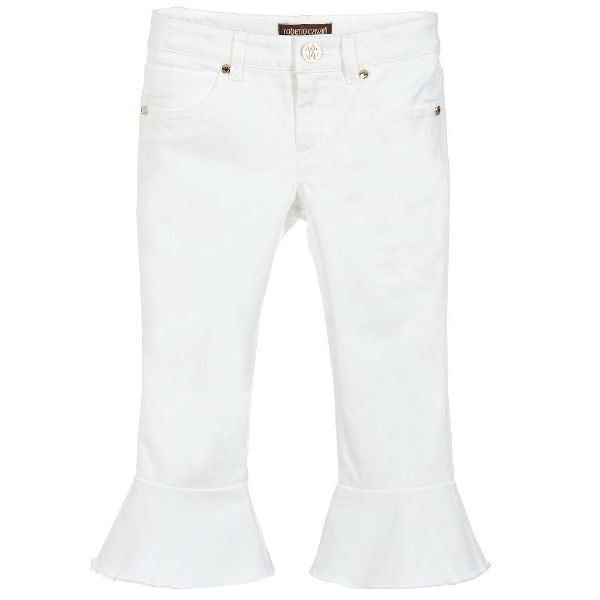 ROBERTO CAVALLI White Flare Cropped Jeans