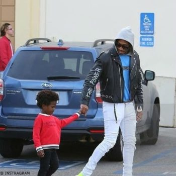 Rapper Future with Son Future Zahir Wilburn in LA wearing Red Burberry Sweatshirt