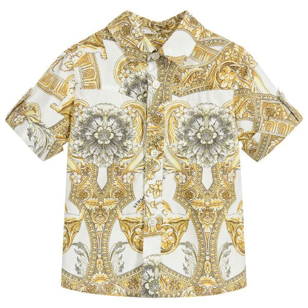 02b08f7dd9f1 YOUNG VERSACE Boys Gold Baroque Print Shirt. DAVID CHARLES Girls Golden  Brocade Dress