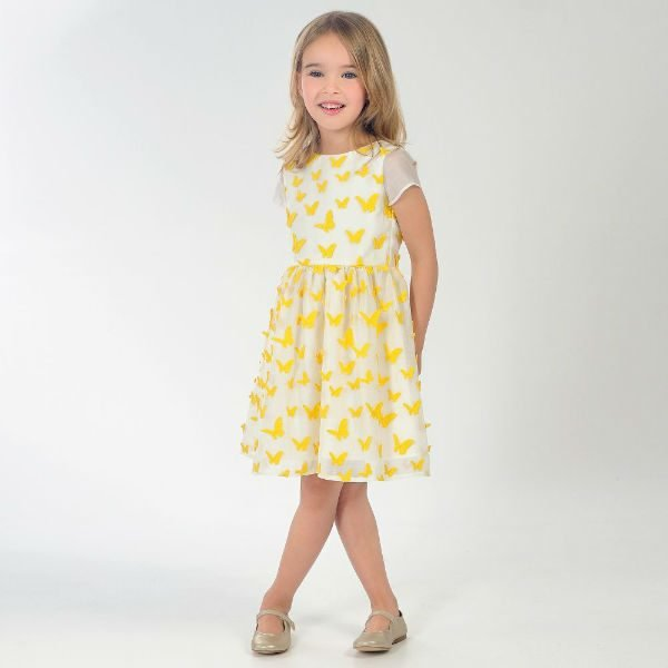 CHARABIA Girls Yellow Butterfly Dress