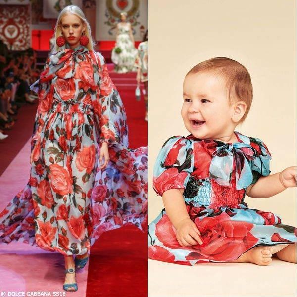 DOLCE & GABBANA Baby Girls Mini Me Pink & Blue Rose Silk Dress SS18