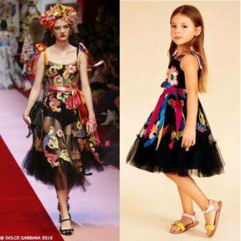 DOLCE & GABBANA Girls Mini Me Black Tulle Dress SS18