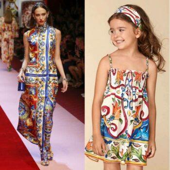 DOLCE & GABBANA Girls Mini Me Blue & Green MAJOLICA Dress SS18