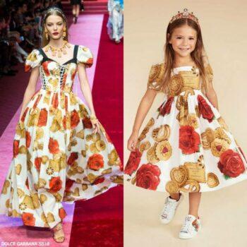 DOLCE & GABBANA Girls Mini Me Cotton Biscotti Rose Dress SS18