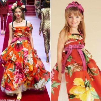 DOLCE & GABBANA Girls Mini Me Floral Silk Dress SS18