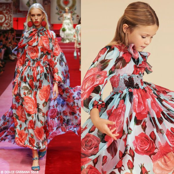 DOLCE & GABBANA Girls Mini Me Pink & Blue Rose Silk Dress SS18