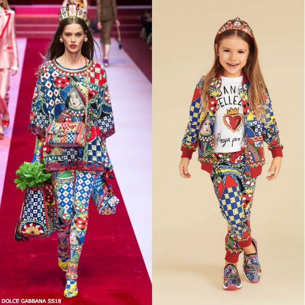 DOLCE & GABBANA GIRLS MINI ME QUEEN OF HEARTS SWEATSHIRT & LEGGINGS