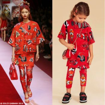 DOLCE & GABBANA Girls Mini Me Red Brocade Dress SS18