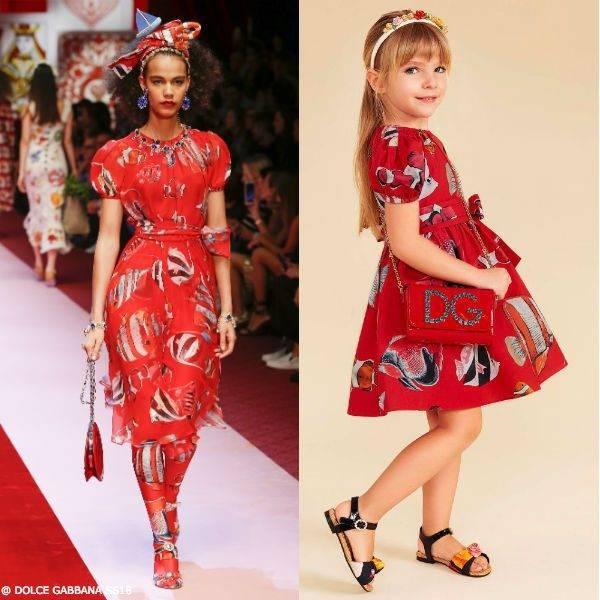 DOLCE & GABBANA Girls Mini Me Red Tropical Fish Cotton Dress