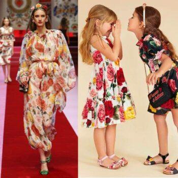 DOLCE & GABBANA Girls Mini Me Rose Print Dress SS18