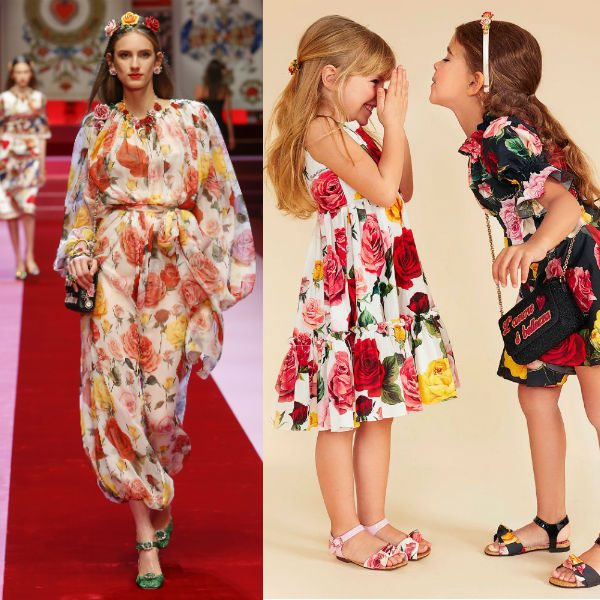 DOLCE & GABBANA Girls Mini Me Rose Print Dress SS18