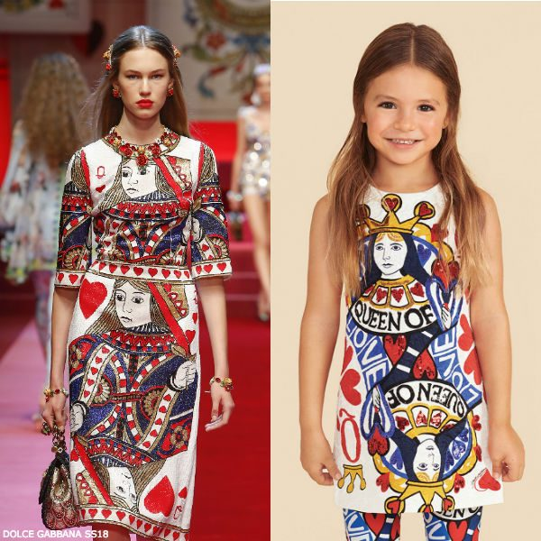 DOLCE & GABBANA Mini Me Girls Ivory Queen of Hearts Dress SS18