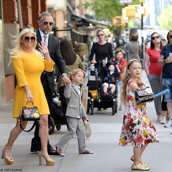 Jessica Simpson with Daughter Maxwell Dolce & Gabbana Mini Me Rose Print Dress NYC May 11