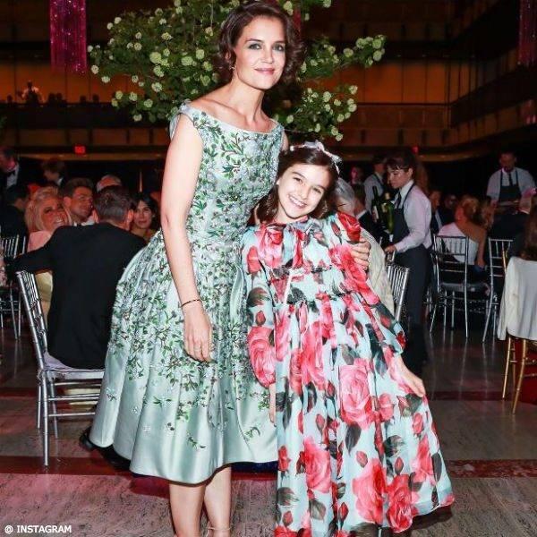 Katie Holmes and Daughter Suri 12 New York Ballet Dolce Gabbana Floral Dress