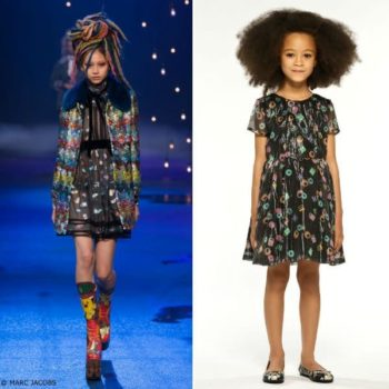 LITTLE MARC JACOBS Black Mini Me Silk Licorice Dress