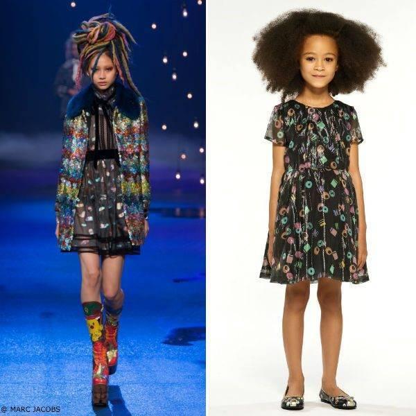 LITTLE MARC JACOBS Black Mini Me Silk Licorice Dress