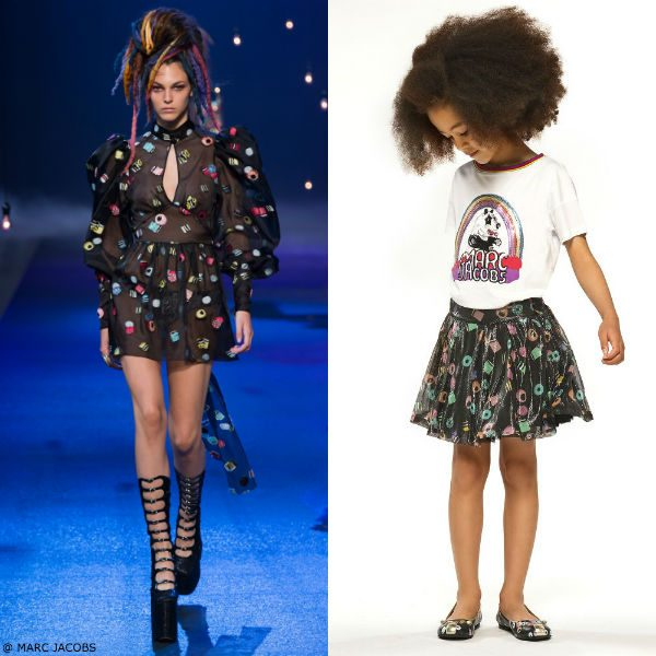 LITTLE MARC JACOBS Black Mini Me Silk Liquorice Skirt