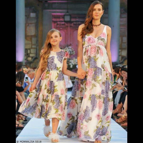 MONNALISA CHIC Girls Mini Me Ivory Floral Crepe Dress