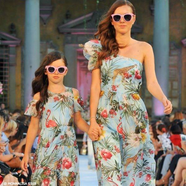 MONNALISA JAIKOO Mommy & Me Girls Blue Jungle Print Dress SS18 Fashion Show