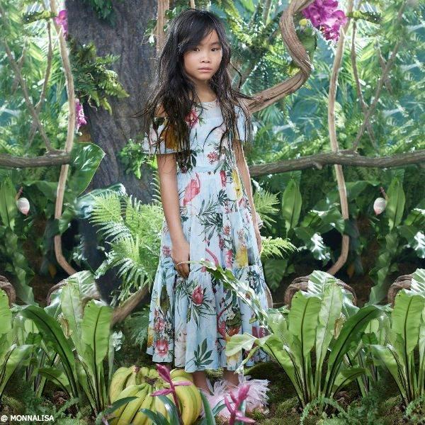 MONNALISA JAKIOO Girls Blue Cotton Dress