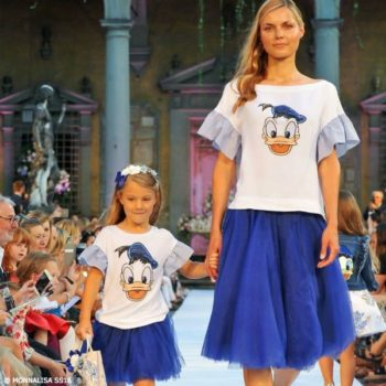 MONNALISA Mommy & Me Disney Donald Duck Shirt Blue Tulle Skirt SS18 Fashion Show