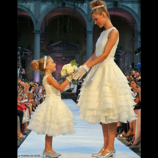 Monnalisa White Mommy & Me Tulle Tiered Flower Girl Dress