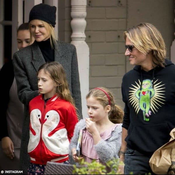 Nicole Kidman & Daughters Sunday Rose & Faith - Stella McCartney Kids Mini Me Red Swan Bomber Jacket