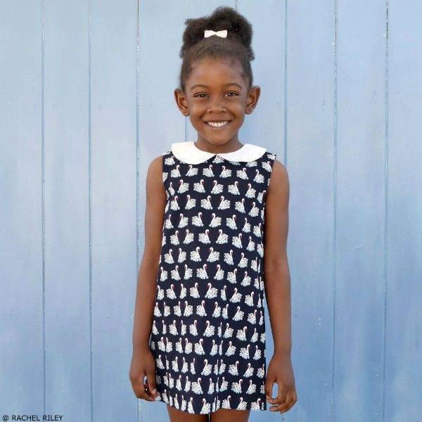 RACHEL RILEY Blue Swan Print Dress