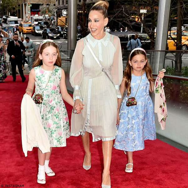 Sarah Jessica Parker Twin Daughter Tabitha and Marion Rachel Riley Dresses New York City Ballet's Spring Gala Red Carpet