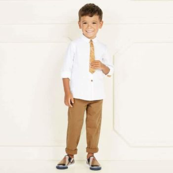 ALVIERO MARTINI Boys White Shirt & Geo Map Tie