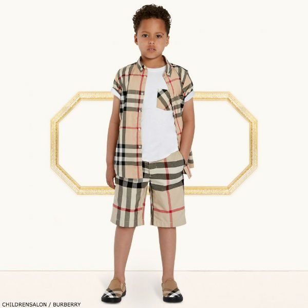 ba7023a82b472 BURBERRY Kids Boys Mini Me Fred Check Shirt   Shorts