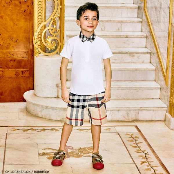 863a22227c9cd BURBERRY Boys WILLIAM Cotton Polo Shirt   Check Shorts