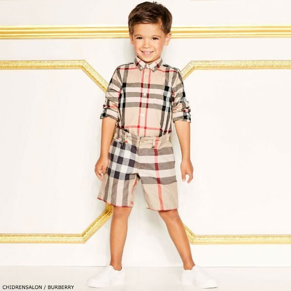 d13f3b580a27f BURBERRY Boys Mini Me Check Mini Fred Shirt and Shorts