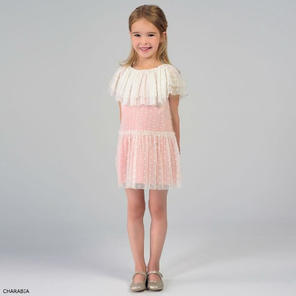 CHARABIA Girls Pink & Ivory Party Dress