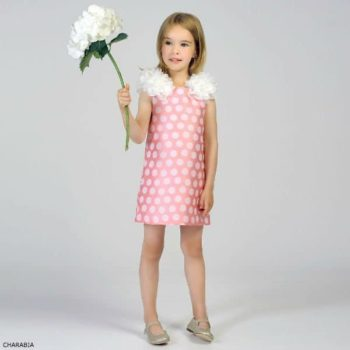 CHARABIA Girls Pink Satin Party Dress