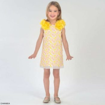 CHARABIA Girls Yellow Jill Party Dress