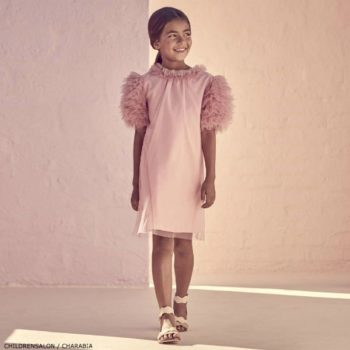 CHARABIA Pink Tulle Ruffle Dress