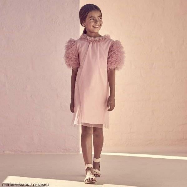 CHARABIA Pink Tulle Ruffle Dress