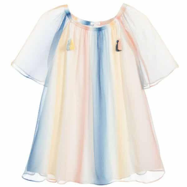 CHLOÉ Girls Rainbow Silk Dress
