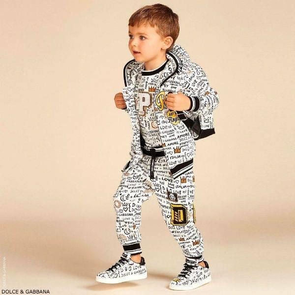 DOLCE & GABBANA Boys Mini Me Black & White GRAFFITI Sweatsuit