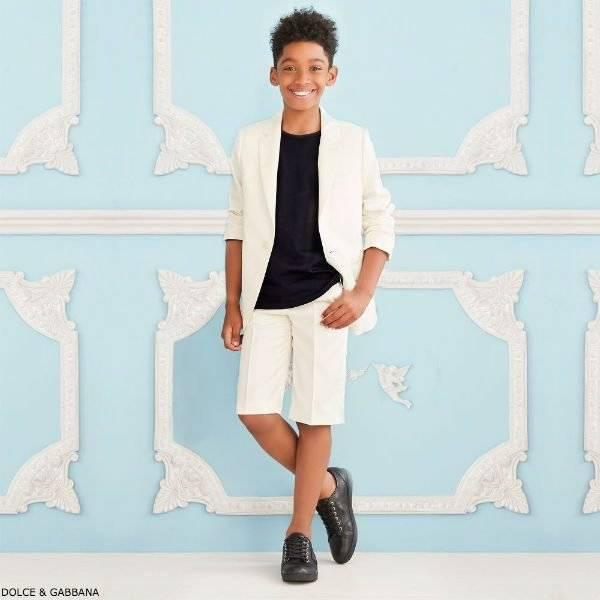 DOLCE & GABBANA Boys Ivory Wool & Silk 2 Piece Suit