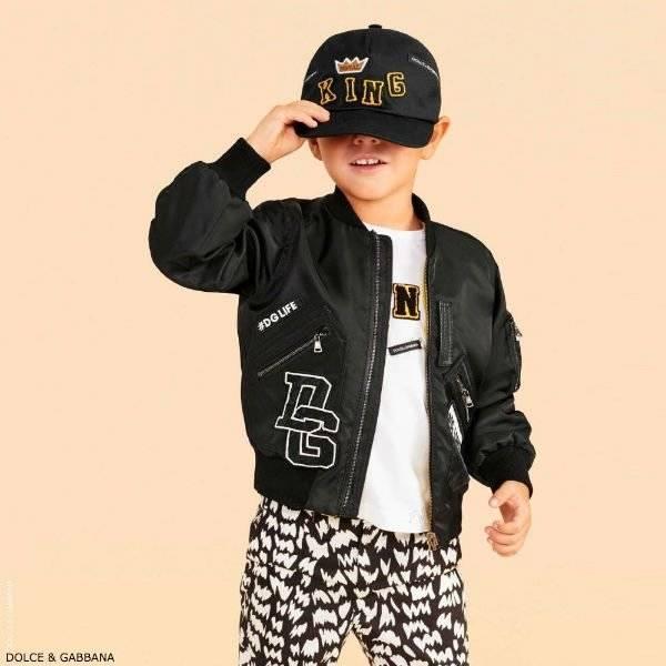 DOLCE & GABBANA Boys Black Logo Bomber Jacket
