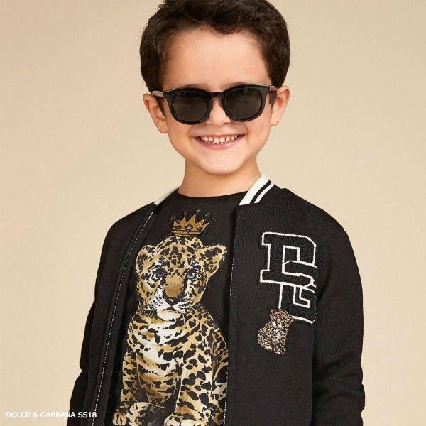 DOLCE & GABBANA Boys Mini Me Black Zip-Up Jacket
