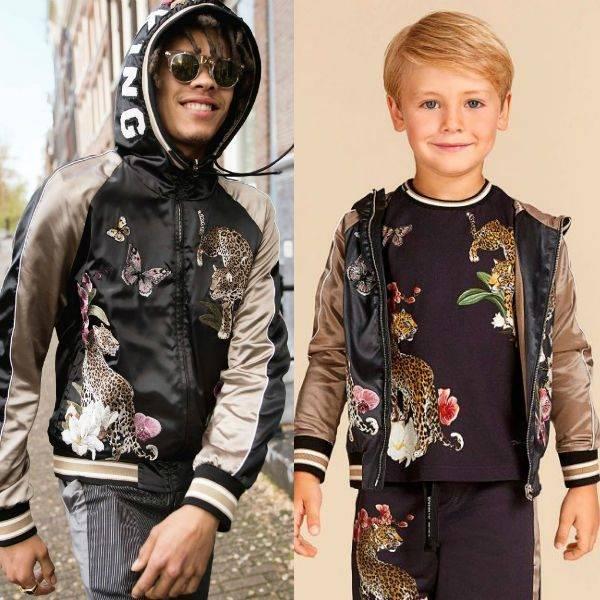 DOLCE & GABBANA Boys Mini Me Leopard & Flower Satin Bomber Jacket