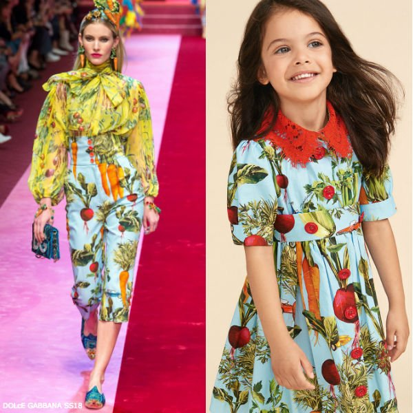 DOLCE & GABBANA GIRLS MINI ME BLUE RAPANELLI DRESS