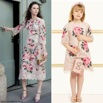 DOLCE & GABBANA Girls Mini Me Love Christmas Pink Roses Lace Dress