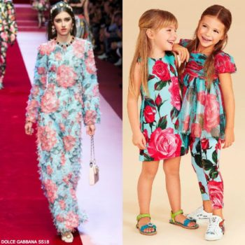 DOLCE & GABBANA Girls Mini Me Pink Rose Crepe Dress Spring Summer 2018