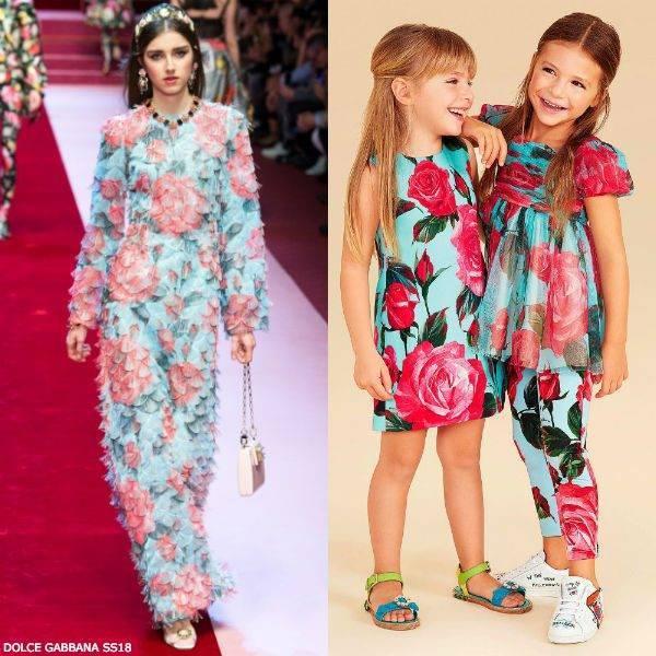 DOLCE & GABBANA Girls Mini Me Pink Rose Crepe Dress Spring Summer 2018