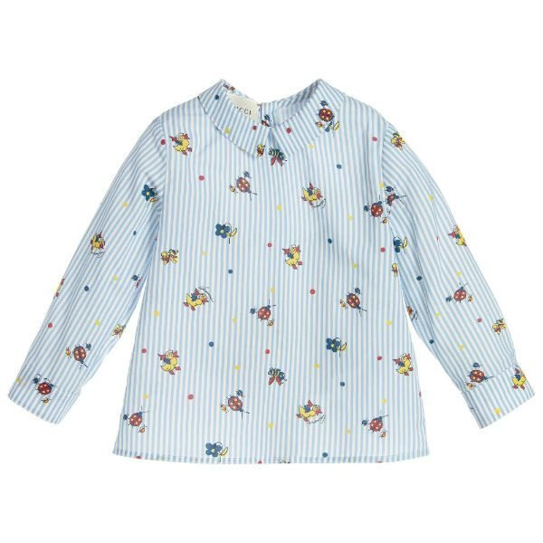 GUCCI Baby Boys Blue Striped Shirt